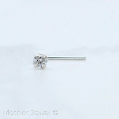 Real Genuine Solid 9K White Gold Mens Ladies L Shaped Bend Bent Nose Pin Stud