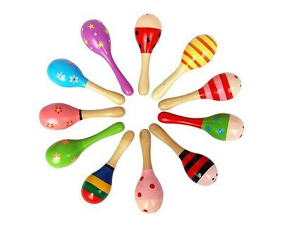 1/2/5/10 Wooden Wood Maraca Rattles Shaker Percussion Kid Baby Musical Toy Gift