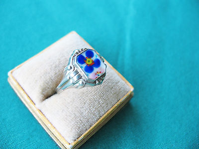 Alter Ring  - Silber - Emaille