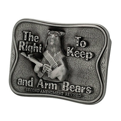 THE RIGHT TO KEEP AND ARM BEARS Funny Humor SILVER Belt Buckle