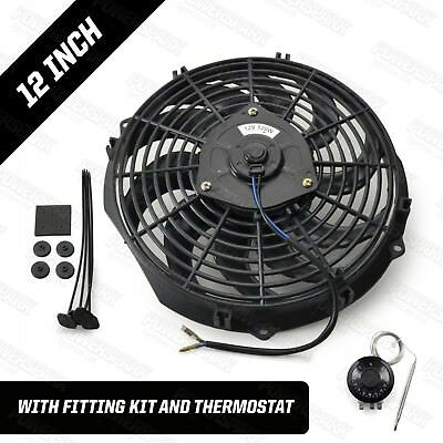 """12 Volt 12"""" Electric Radiator Cooling Fan & Thermostat Intercooler 120W"""