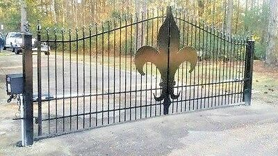 Custom Built Iron / Steel  Driveway Entry Gate 15ft Wide Dual Swing  Residential