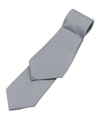 Lot of 10 Men's Silver Satin Tie and Pocket Square Sets