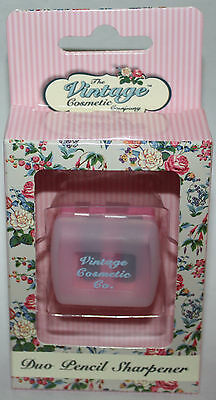 The Vintage Cosmetic Company Pink/White Polka Dots Duo Pencil Sharpener **