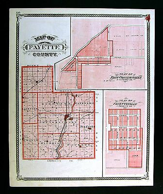 1876 Indiana County Map Fayette Connersville Alquina Bentonville