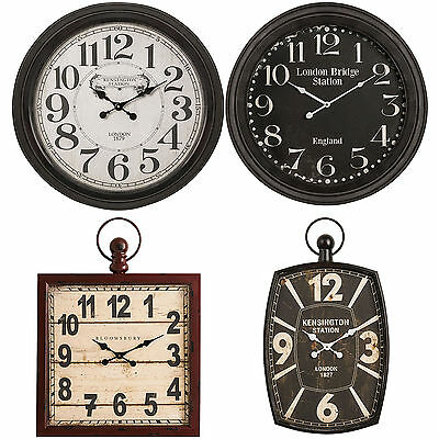 Extra Large Huge Iron London Wall Clocks Antique Round Square Metal Shabby Chic