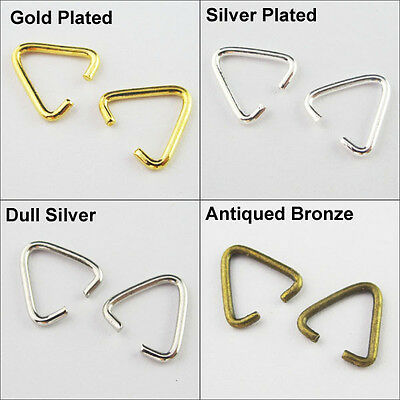 60 Connectors Triangle Jump Rings Bails 10.5x11mm Gold Bronze Dull Silver Plated