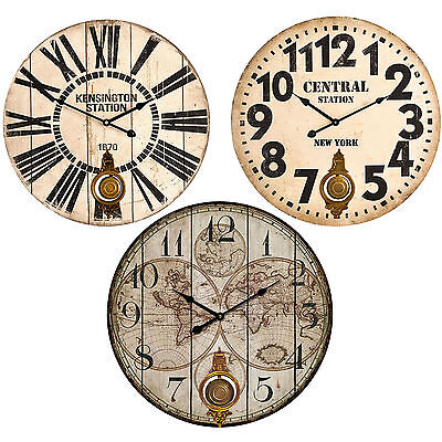 Large 58cm Wooden Wall Clock Round Pendulum Vintage Modern Antique Shabby Chic