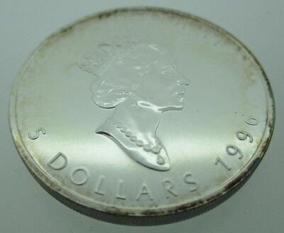 1996 5 Dollar S Canada 9999 Fine Silver 1 Oz Argent Pur Coin