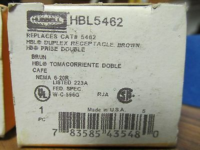 Hubbell Hbl5462 Brown Duplex Receptacle  20A 250V ........... Zb-40