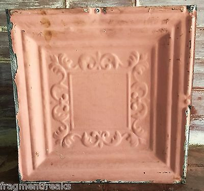 "1890's Reclaimed Metal 12"" x 12"" Antique Tin Ceiling Tile Vintage Pink G2"