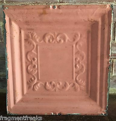 "12"" x 12"" Antique Tin Ceiling Tile *SEE OUR SALVAGE VIDEOS* Vintage Pink G3"