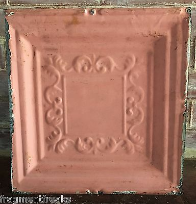 """12"""" x 12"""" Antique Tin Ceiling Tile *SEE OUR SALVAGE VIDEOS* Vintage Pink G4"""