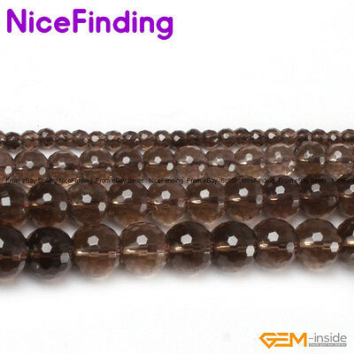 """Wholesale Round Faceted Genuine Gemstone Beads For Jewelry Making 15""""Stone Pick"""
