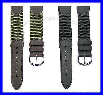 17mm 18mm 19mm 20mm Leather & Nylon Replacement Watchband Strap for Sports Watch