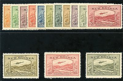 New Guinea 1939 KGVI Airmail set complete superb MNH. SG 212-225. Sc C46-59.
