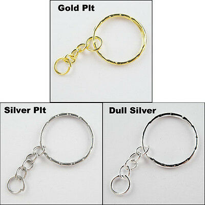 8 New Connectors Split Key Rings 25mm With Chains Gold Silver Dull Silver Plated
