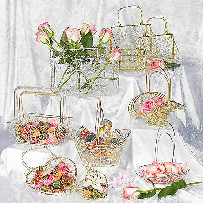 Assorted Large Metal Wire Mesh Bridesmaid Wedding Table Fancy Decor Baskets Sets