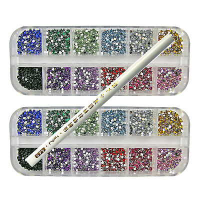 6000 Pcs x 2mm RHINESTONE ROUND GEMS FOR NAIL ART  - 12 COLOURS + PICKER TOOL