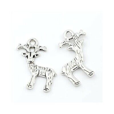 Reindeer Charm/Pendant Tibetan Antique Silver 23mm  10 Charms Accessory Crafts