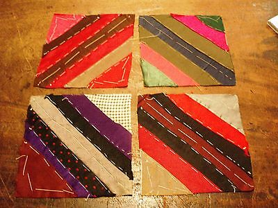 14 Antique Crazy Quilt Hand Stitched Satin & Velvet Blocks For Craft Projects