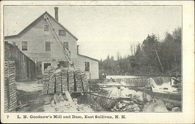 East Sullivan NH Goodnow's Mill & Dam c1910 Postcard