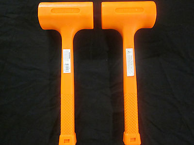 2pc UNI-CAST 4-LB HI-VIZ NEON SAFETY ORANGE DEAD BLOW HAMMER MALLET NON-SPARKING