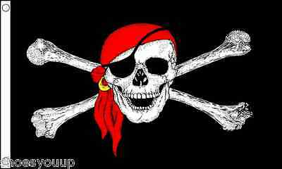 Pirate Lady Pirate Captain Skull with Long Hair /& Sword Red 5/'x3/' Flag !