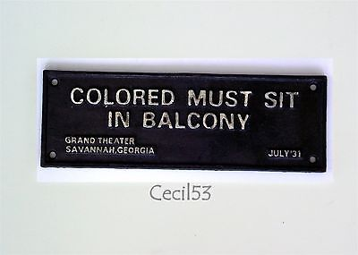 Black Segregation Sign Colored Sit In Balcony Savannah Ga - Ships Free