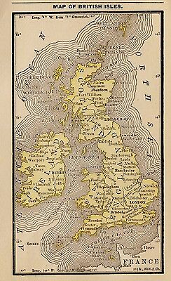 RARE Antique UNITED KINGDOM Map British Isles 1886 RARE MINIATURE Map 2249