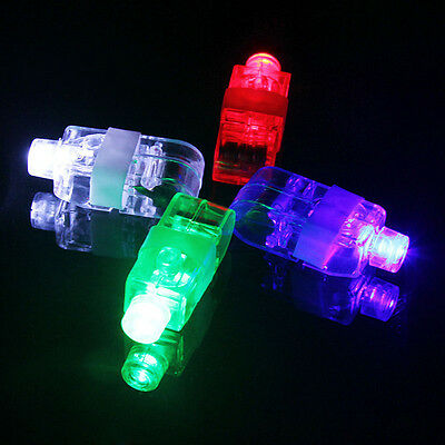4PCS LED Finger Lights Lamps Party Laser Finger Light Up Beam Torch Glowing Ring