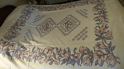 """Vintage Cotton Blend Tablecloth FLORAL,PINK,BLUE,MAROON,YELLOW 68""""x60"""""""