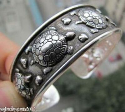Tibetan Tribe Jewelry Tibet Silver Amulet Lucky Turtle Cuff Bracelet Bangle