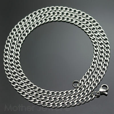 60Cm Silver 316L Stainless Steel 4Mm Curb Chain Mens Womens Unisex Necklace