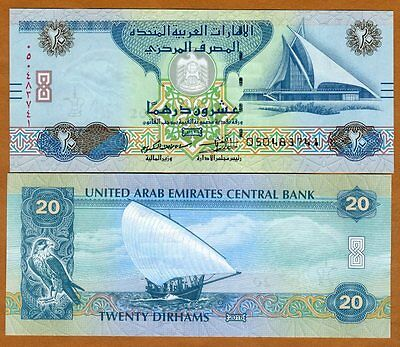 United Arab Emirates, 20 Dirhams, 2015, P-New, UNC > Braille