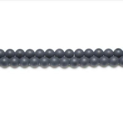 Packet of 10 x Black Onyx 6mm Frosted Round Beads VP3220