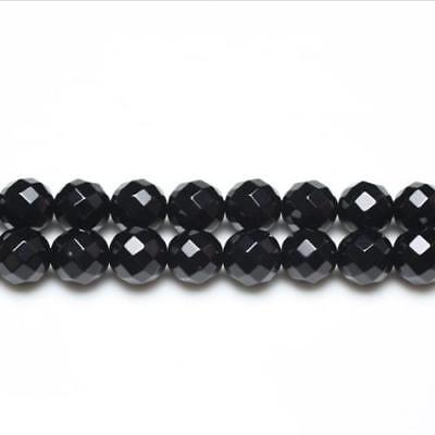 Packet of 6 x Black Onyx 10mm Faceted Round Beads VP2655