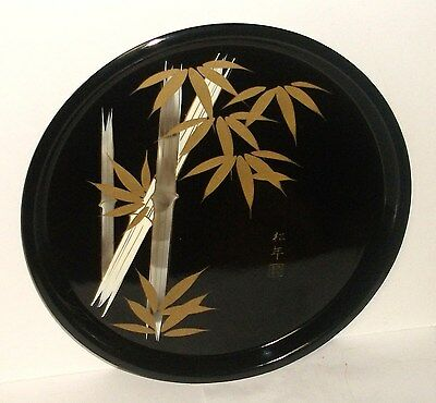 Nice Japanese Black Lacquer Round Bamboo Design Tray