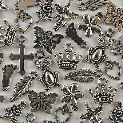 50 Mixed Charms Tibetan Silver Pendants - Cats Fairy Hearts 10 Designs 8-20mm