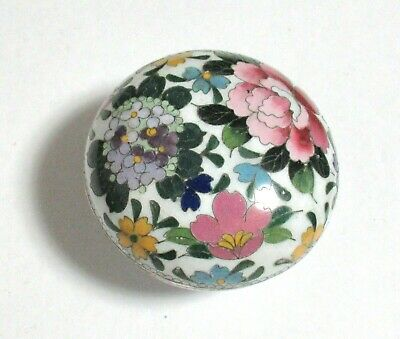 Small White Inaba Floral Design Cloisonne Enamel Box Signed
