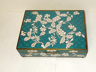 Rare Chinese Cloisonne Turquoise Enamel Floral Humidor Jar Box