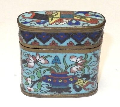 Rare 19Th Century Bronze Cloisonne Turquoise Enamel Small Opium Canister Jar Box