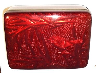 Rare Cloisonne Ginbari Pigeon Blood Red Enamel Birds And Bamboo  Humidor Jar Box