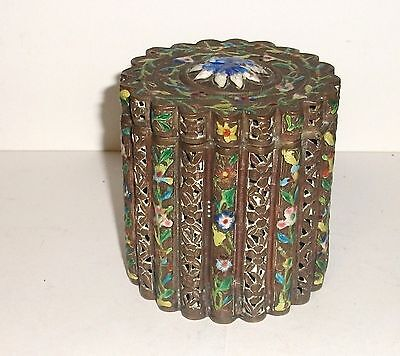 Rare 19Th Century Chinese Bronze Cloisonne Repousse Open Enamel Caddy Jar Box