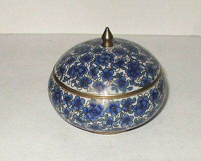 Rare Old Chinese Bronze Cloisonne Blue Enamel Floral Bowl Jar Box