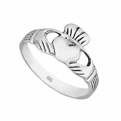 Sterling Silver Polished   CLADDAGH HEART  Ring Various Sizes G-Z