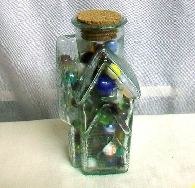 *PSALE NEAT GREEN GLASS BRICK CHURCH w/ STEEP ROOF EAVES BOTTLE FULL of MARBLES