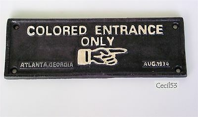 Black Segregation Sign Colored Entrance Only Cast Iron