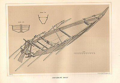 Japanese boat,Perry and Hawks,1856,original antique litho