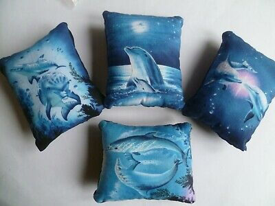 Dolphins Pin Cushion Cotton & Blue Velvet  Reverse in organza gift bag   New